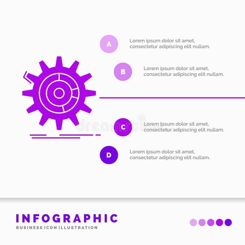 het plaatsen, gegevens, beheer, proces, het Malplaatje van vooruitgangsinfographics voor Website en Presentatie Infographic GLyph vector illustratie