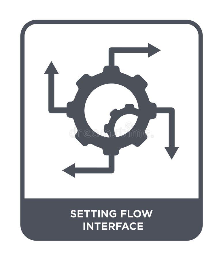 het plaatsen van het pictogram van de stroominterface in in ontwerpstijl plaatsend het pictogram van de stroominterface op witte  royalty-vrije illustratie