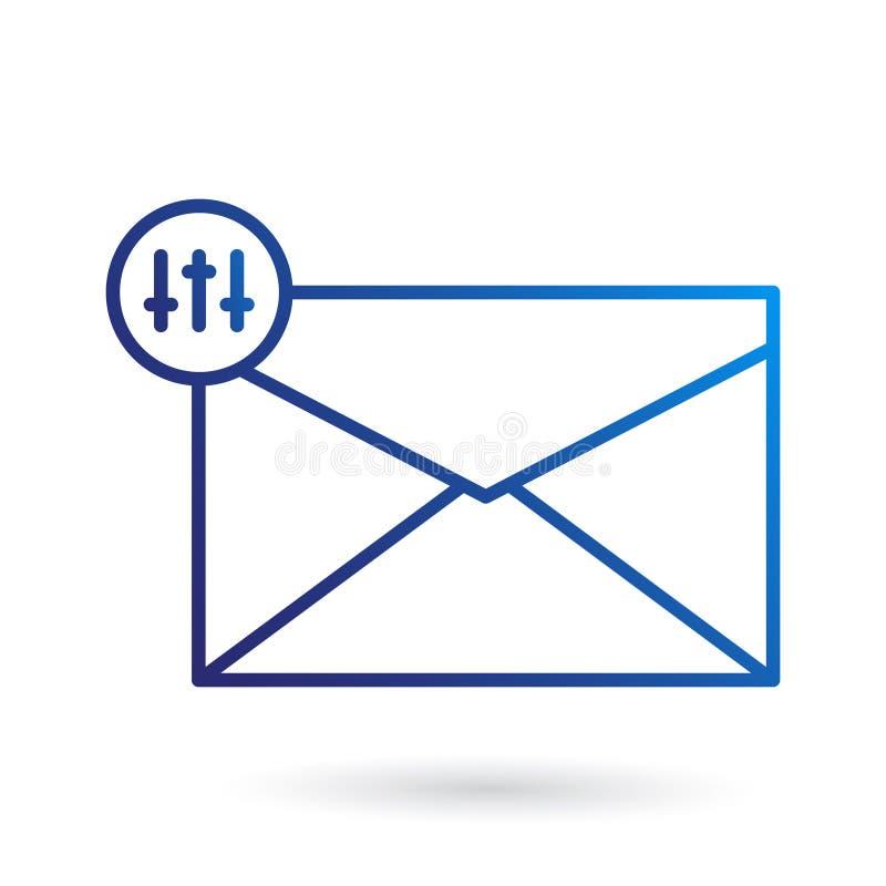 Het plaatsen van Postpictogram in blauwe kleur, moderne stijl stock illustratie