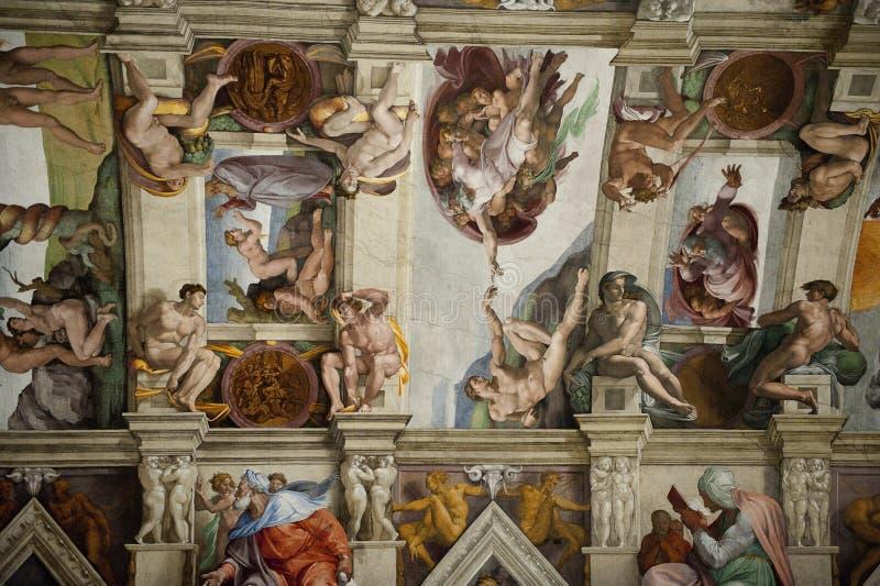 Het plafond in de Kapel Sistine in het Vatikaan royalty-vrije stock foto's