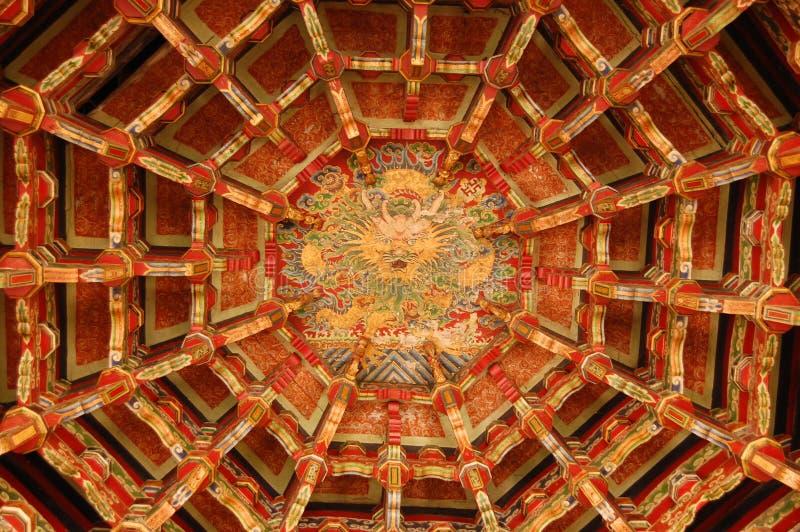 Het plafond van de tempel stock afbeelding