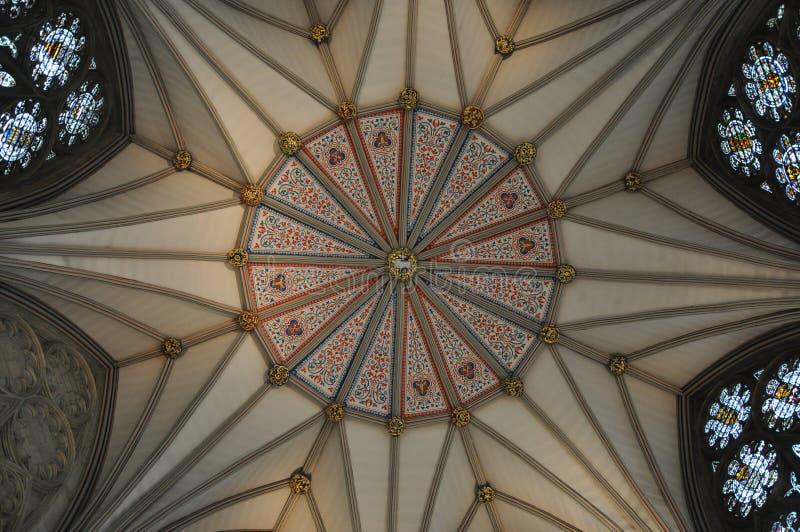 Het Plafond van het hoofdstukhuis in de Munster van York stock afbeelding