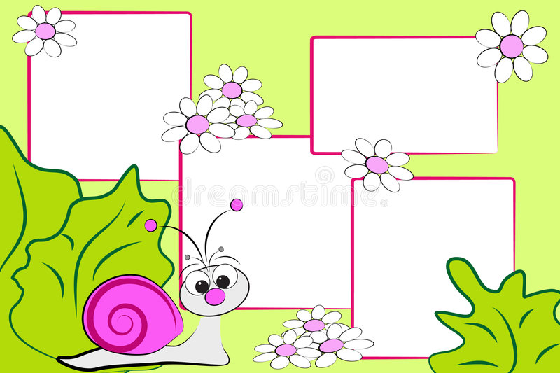 Het plakboek van het jonge geitje - slak en bloemen royalty-vrije illustratie
