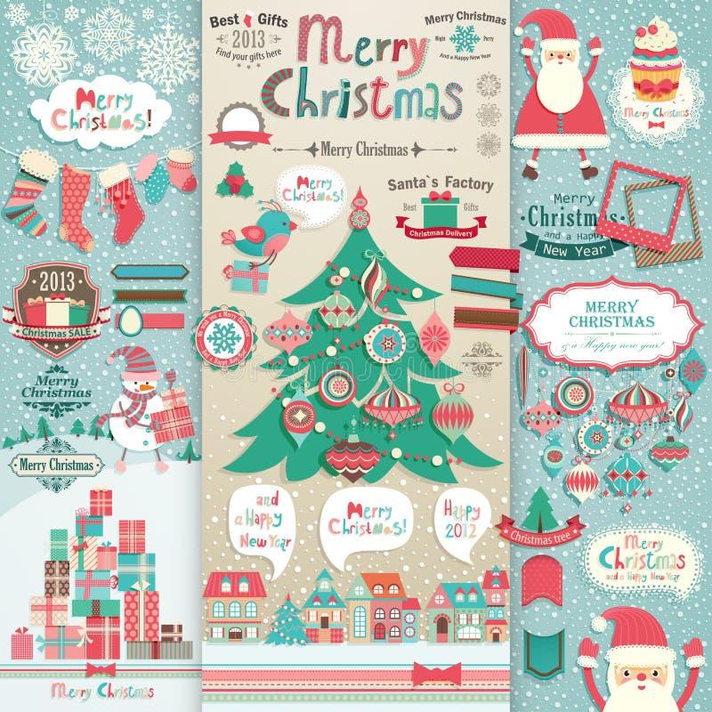 Het plakboekelementen van Kerstmis. stock illustratie