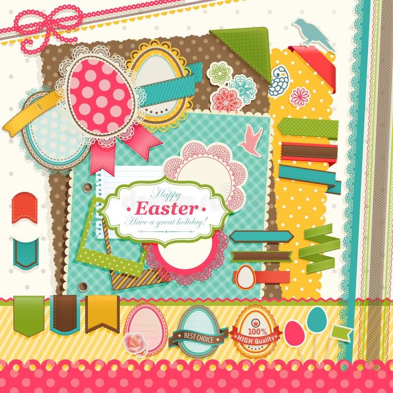 Het plakboekelementen van Pasen. stock illustratie