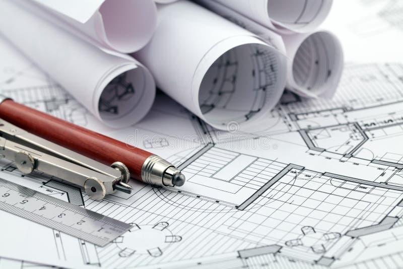 Het plan & de hulpmiddelen van de architectuur stock fotografie