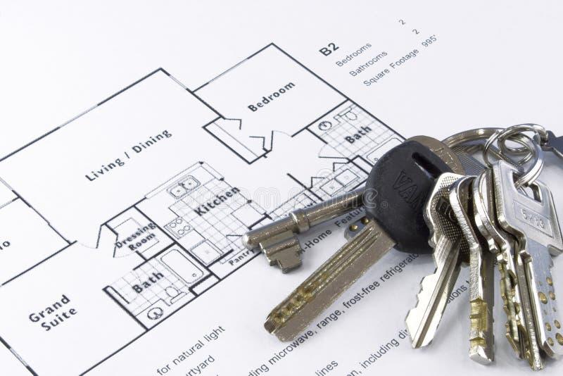 Het plan en de sleutels van de vloer stock foto's