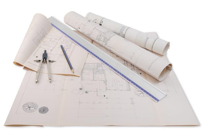 Het plan van de architect stock fotografie
