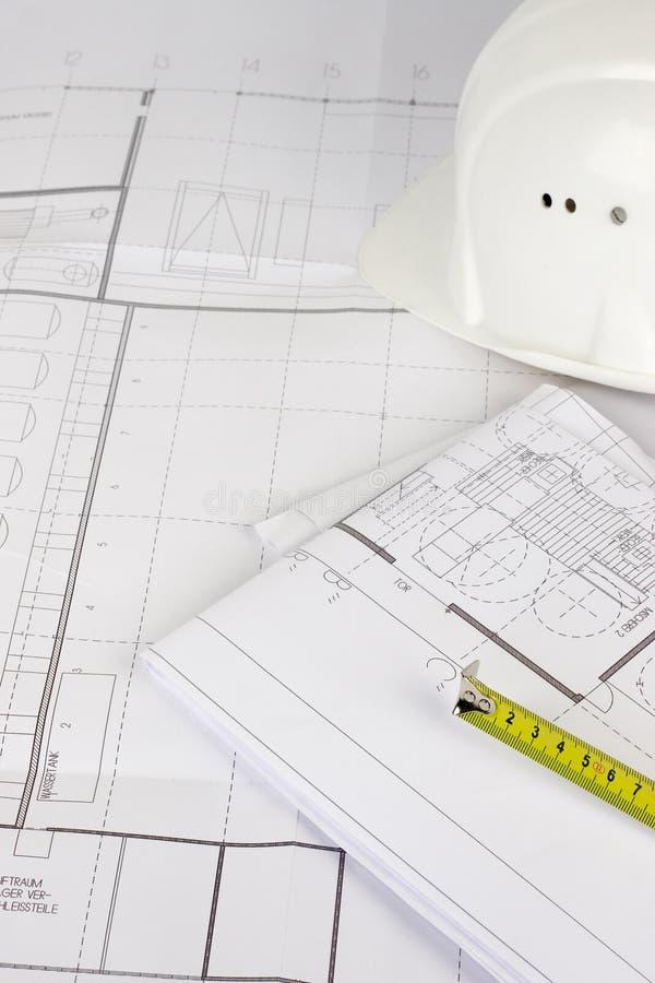 Het plan van de bouw en het meten van band stock afbeelding