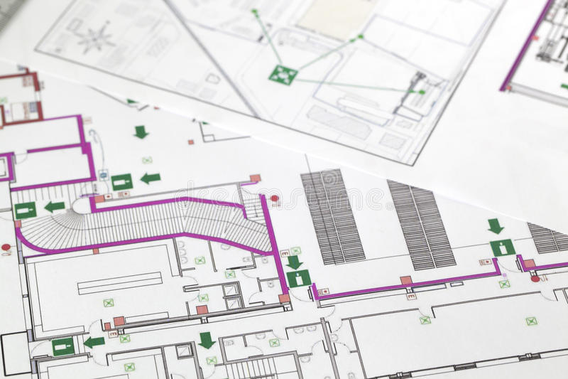 Het plan van de evacuatie royalty-vrije stock afbeelding