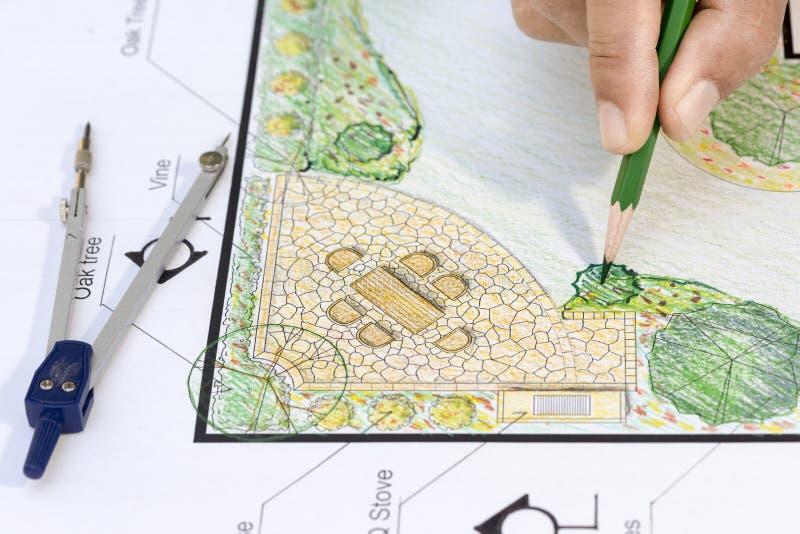 Het plan van de het ontwerptuin van de landschapsarchitect stock afbeeldingen
