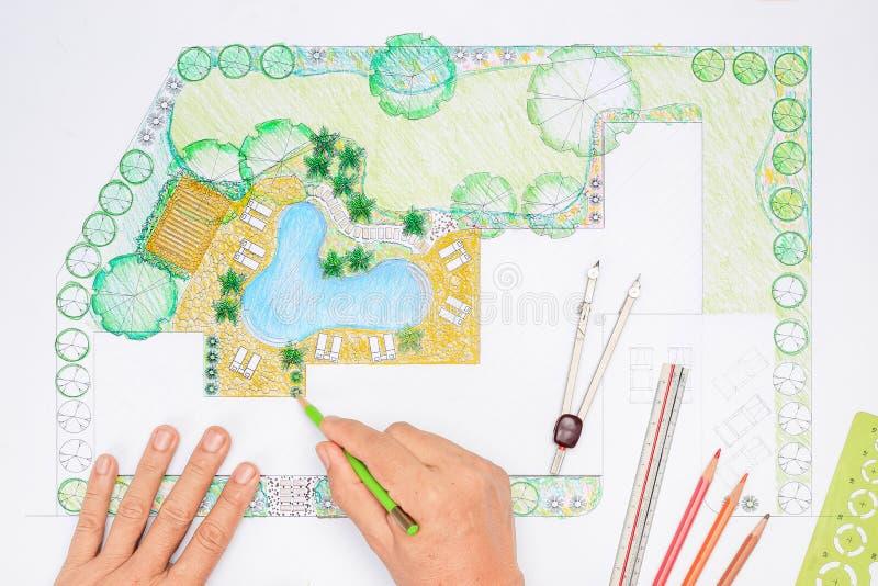 Het plan van de het ontwerpbinnenplaats van de landschapsarchitect stock afbeeldingen