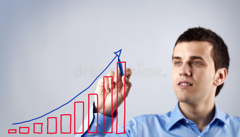 Het plan van de tekening van succes stock afbeeldingen