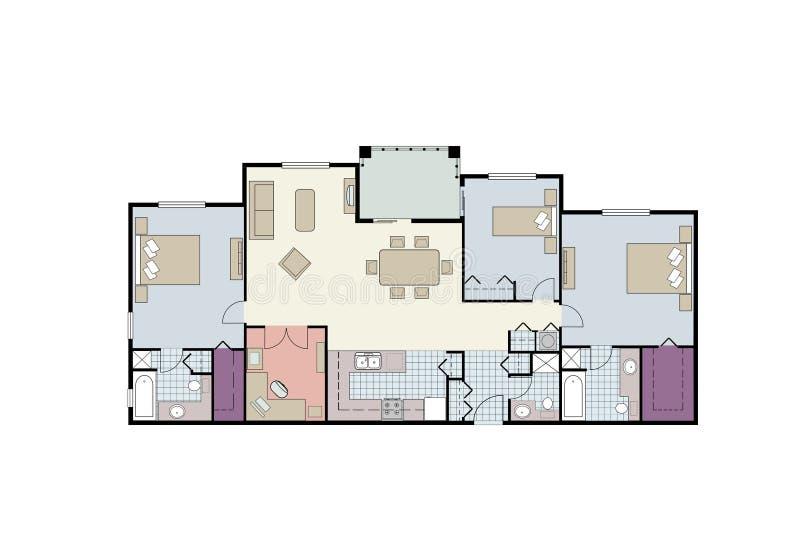 Het plan van de vloer van flatgebouw met koopflats met drie slaapkamers met meubilair royalty-vrije stock afbeeldingen