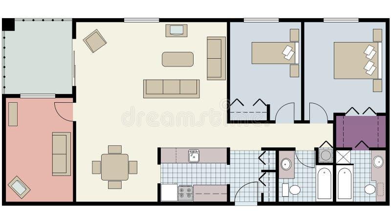 Het plan van de vloer van twee-bed flatgebouw met koopflats met hol, meubilair royalty-vrije stock fotografie