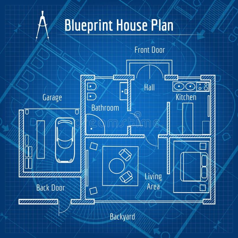 Het plan van het blauwdrukhuis stock illustratie