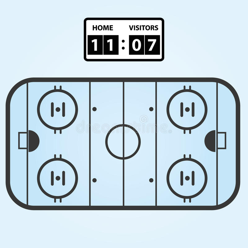 Het plan van het ijshockeygebied met scoreraad stock illustratie