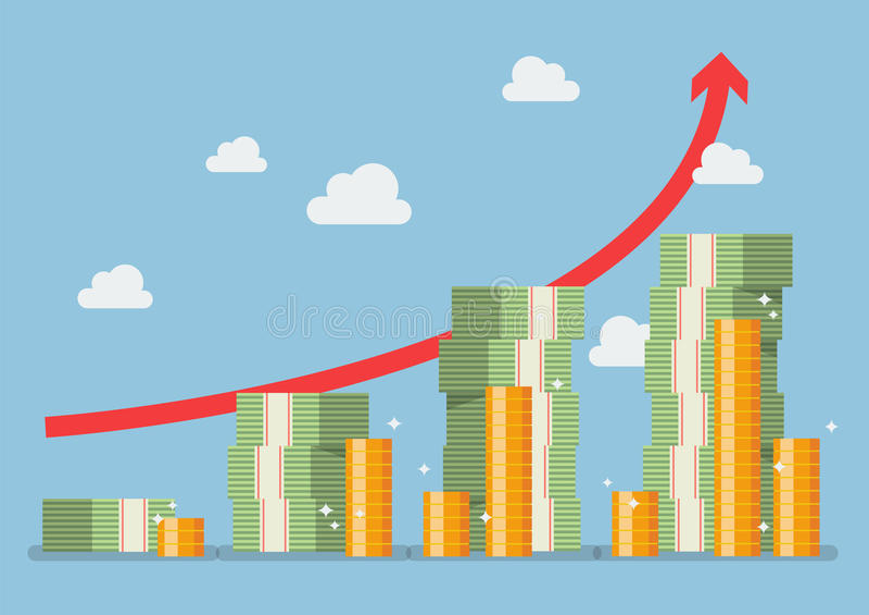 Het plan van het pensioneringsgeld met rode pijl vector illustratie