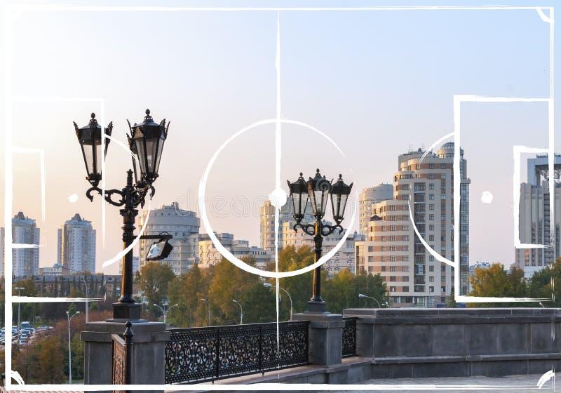 Het plan van het voetbalgebied op de achtergrond van Yekaterinburg stock fotografie
