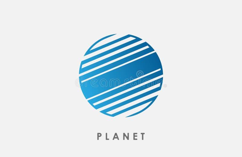 Het planeetembleem verlaagt zich lijn Creatieve kosmisch royalty-vrije illustratie