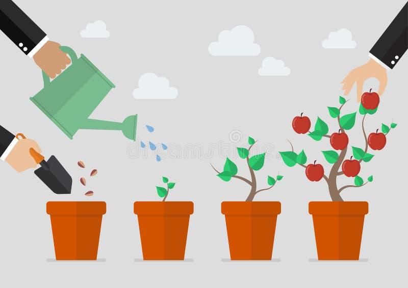 Het planten van boomproces vector illustratie
