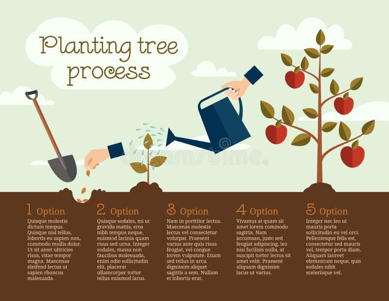 Het planten van boomproces, bedrijfsconcept stock illustratie