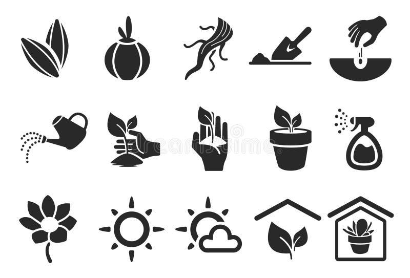 Het planten van Pictogrammen stock illustratie