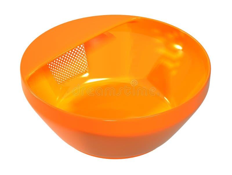 Het plastic beeld van de kom stainer oranje kleur stock afbeeldingen