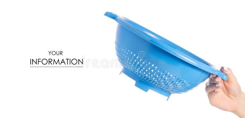 Download Het Plastic In Hand Patroon Van Het Vergiet In Hand Patroon Stock Foto - Afbeelding bestaande uit holding, voedsel: 114228172