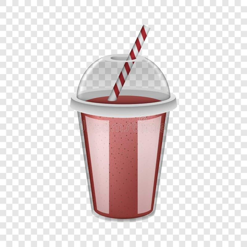 Het plastic model van kop rode smoothie, realistische stijl royalty-vrije illustratie