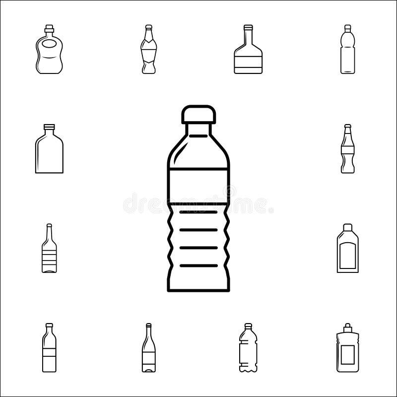 het plastic pictogram van de oliefles Voor Web wordt geplaatst dat en het mobiele algemene begrip van flessenpictogrammen vector illustratie