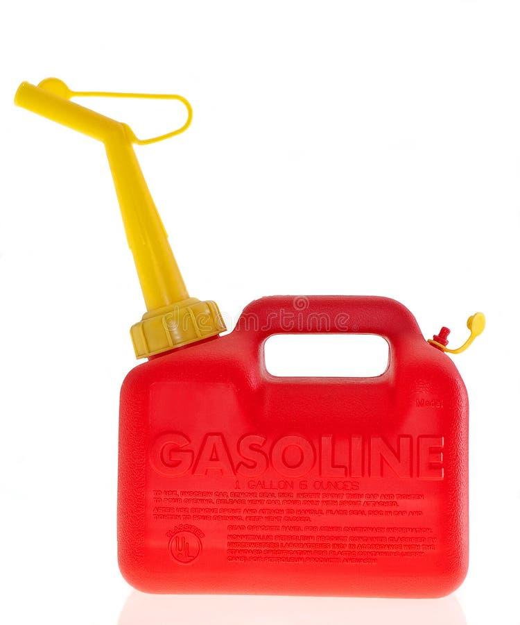 Het plastic rode gas kan royalty-vrije stock foto