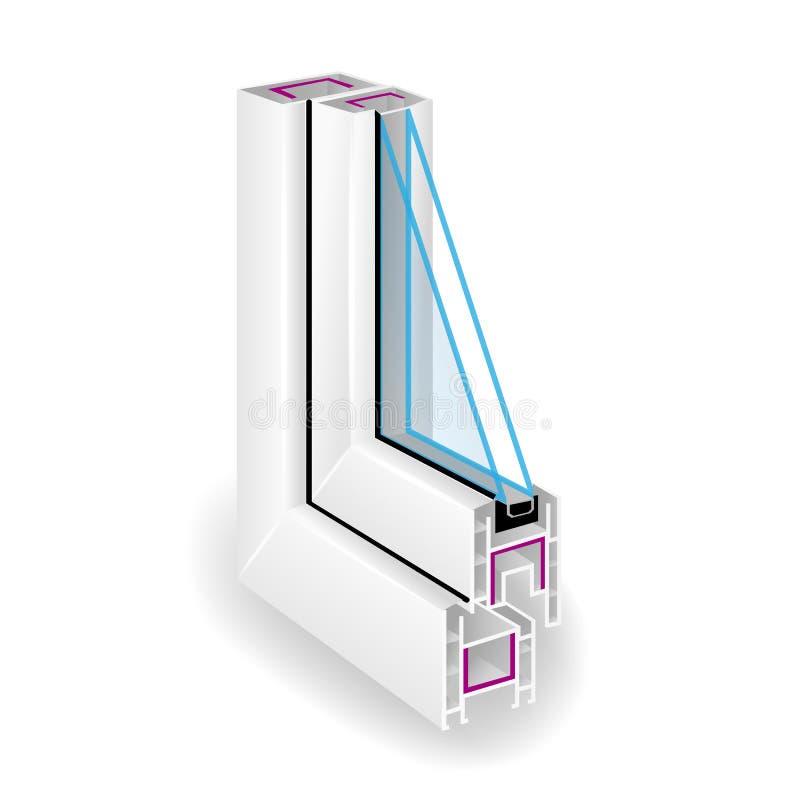 Het plastic venster van het profielkader Transparant Glas twee sectionele mening Vector illustratie royalty-vrije illustratie