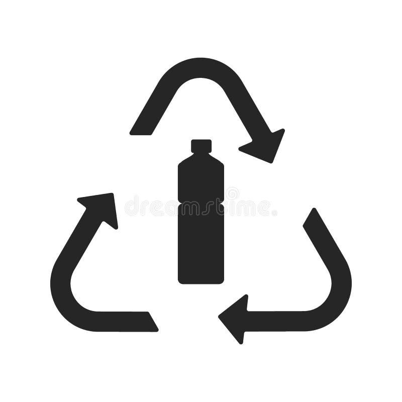 Het plastic vlakke pictogram van het recyclingssymbool royalty-vrije illustratie