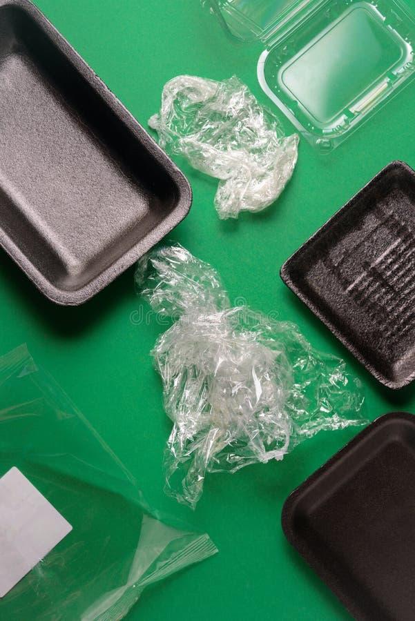 Het plastiek gebruikte beschikbaar voedselpakket royalty-vrije stock afbeeldingen