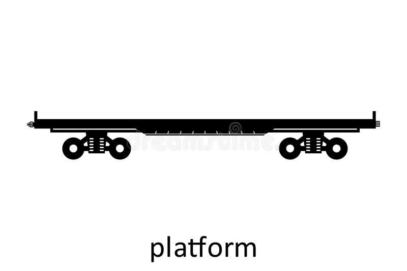 het platform van het spoorwegvervoer met naam Ladingsvracht die Vervoer door:sturen Vector Geïsoleerd illustratie Zijaanzicht stock illustratie