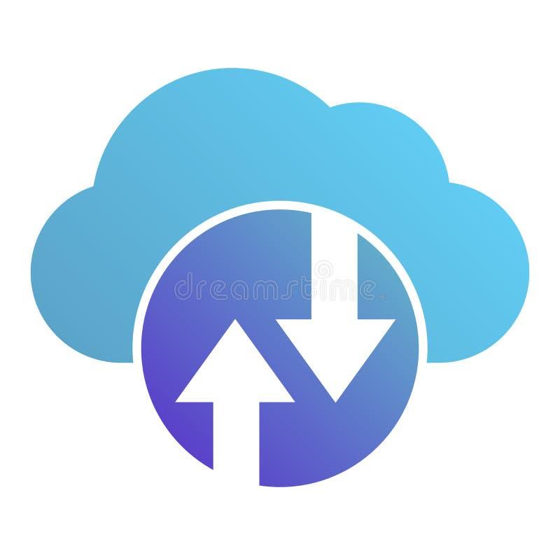 Het platte pictogram Cloud Computing Cloud die kleurenpictogrammen in trendy vlakke stijl ontvangt Ontwerp van de gradiëntstijl v stock illustratie