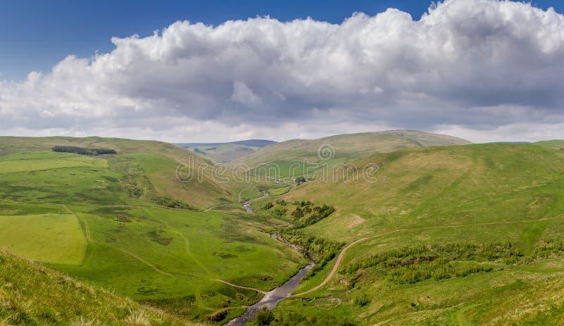 Het platteland van Alwinton, Northumberland stock foto