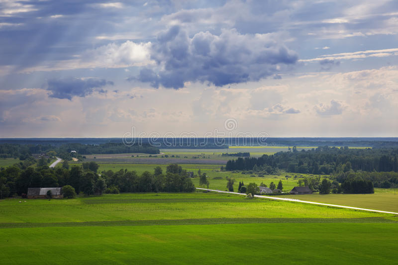 Het platteland van de zomer. stock afbeelding