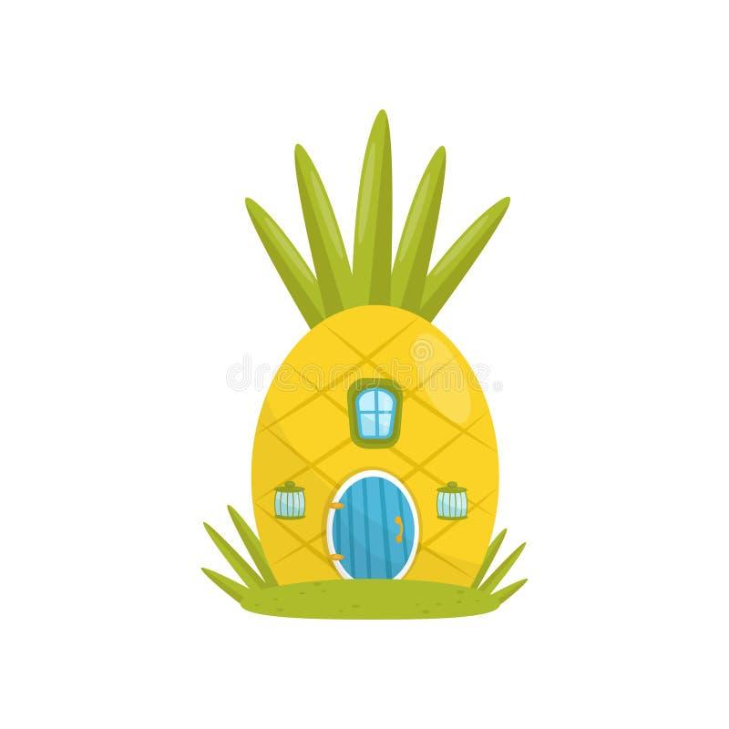 Het plattelandshuisje maakte van ananas, fairytale fantasiehuis voor gnoom, dwerg of elf vectorillustratie op een wit vector illustratie