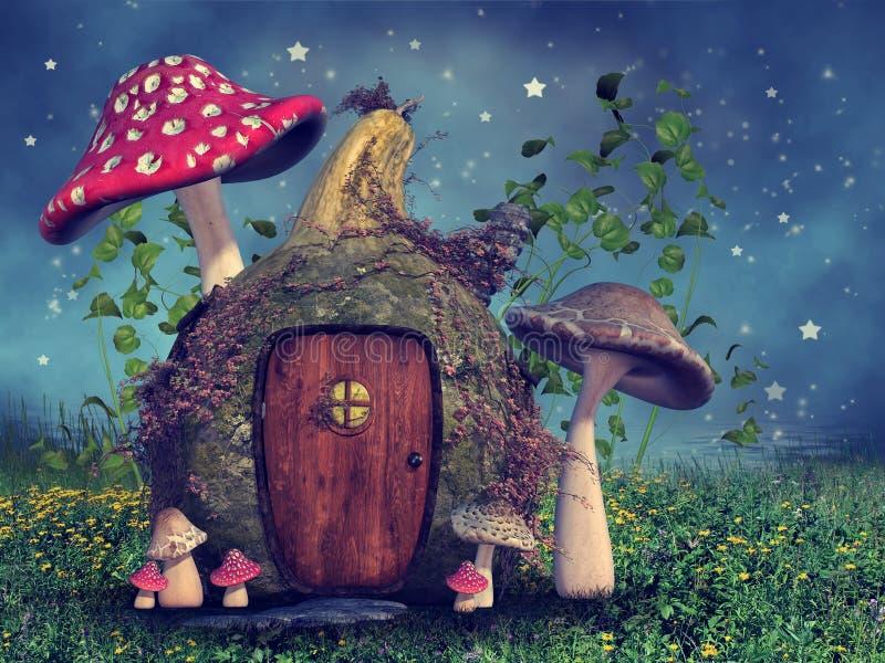 Het plattelandshuisje van de fantasiepompoen stock illustratie