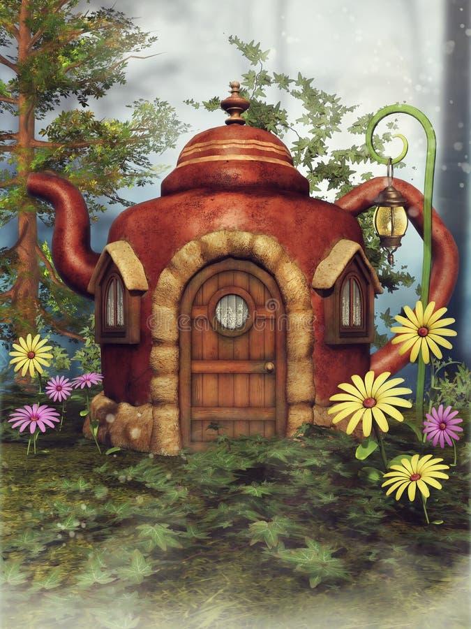Het plattelandshuisje van de fantasietheepot royalty-vrije illustratie
