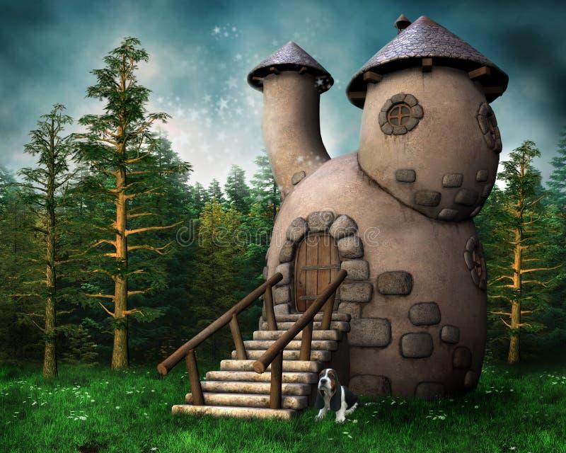 Het plattelandshuisje van de gnoom in een groen bos stock illustratie