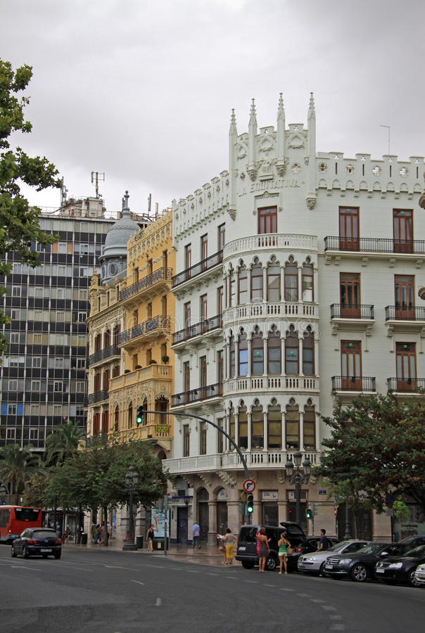 Het Plein del Ayuntamiento - hoofdvierkant van Valencia, Spanje stock foto