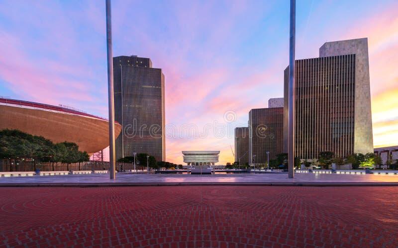 Het Plein van de imperiumstaat bij zonsondergang, Albany, New York, de V.S. royalty-vrije stock foto's