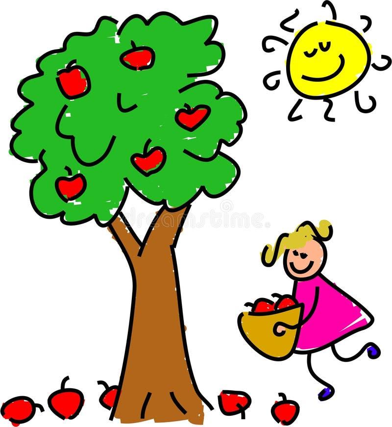 Het plukken appelen stock illustratie