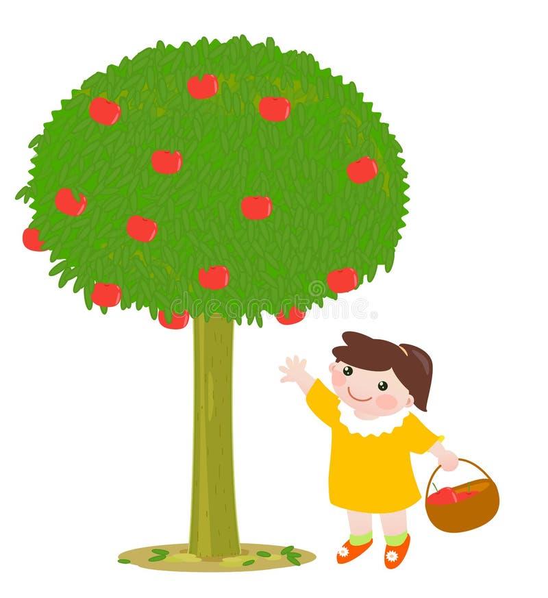 Het plukken van de appel stock illustratie