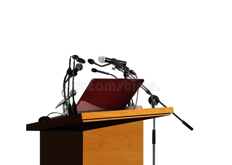 Het podium en de microfoons van het seminarie stock foto
