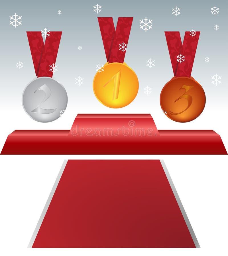 Het podium van de winterspelen stock illustratie