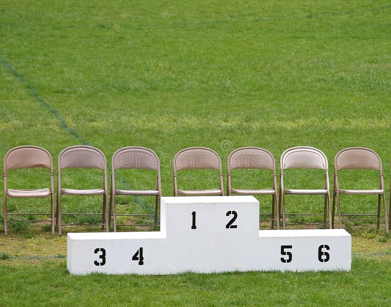 Het Podium van winnaars stock foto's